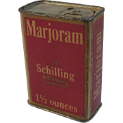 A Schilling & Company Marjoram Red Litho Spice Box
