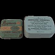 Laymon's Aspirin and Vaporole Ammonia Tins
