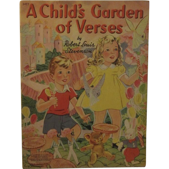 1941 A Child's Garden of Verses Children's Book by RL Stevenson George Trimmer Illustrated No 3427