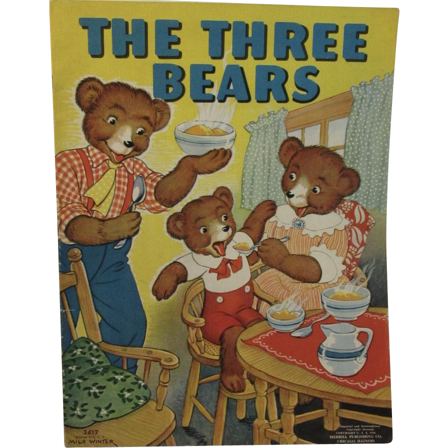 1938 The Three Bears Illustrated by Milo Winter No 3417