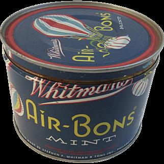 1950 Whitman's Air-Bons Mint Tin with Hot Air Balloons