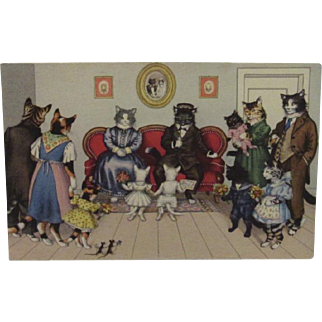 Max Kunzli Dressed Cats Postcard Visit to Grandparents by Alfred Mainzer