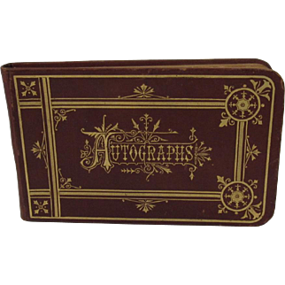 Victorian Autograph Album with Tooled Leather Cover