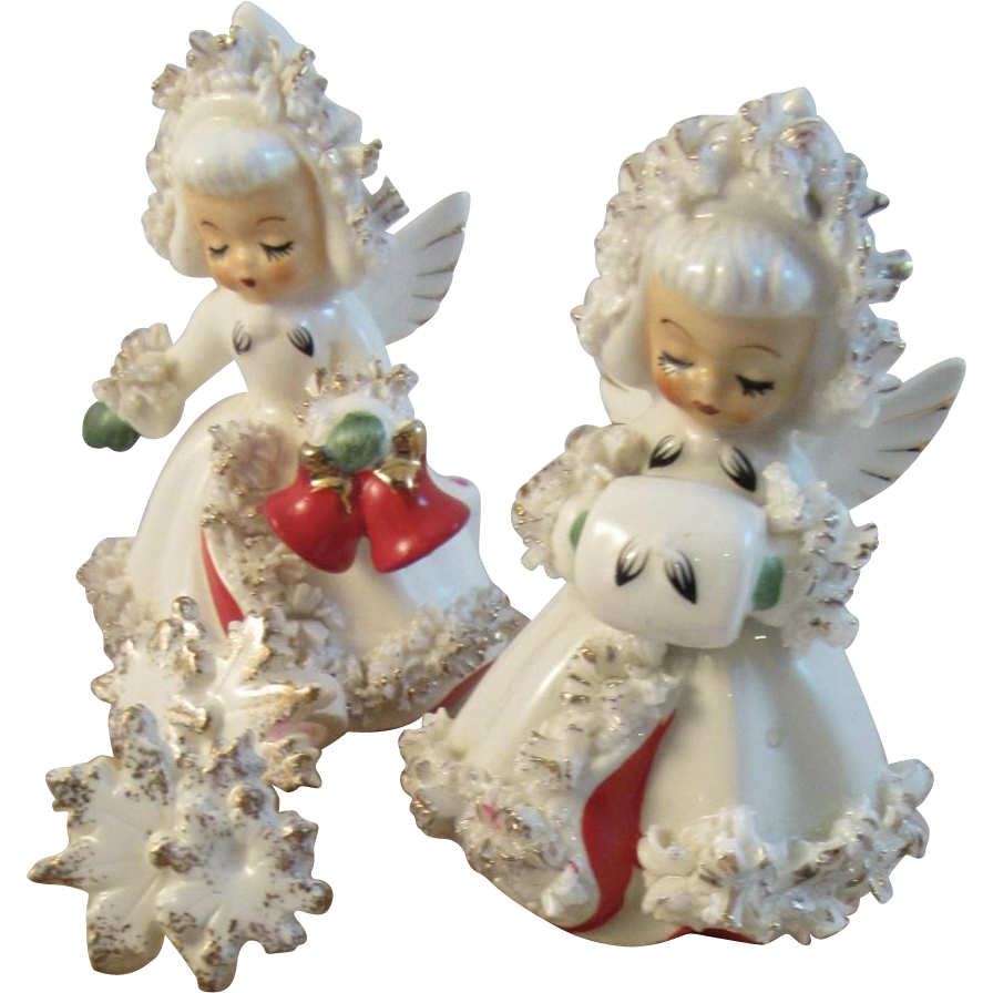 1960s Holt Howard Christmas Angel Candle Holders
