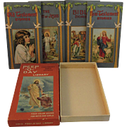 "Victorian Chromolithograph Illustrated Peep 'O"" Day Library 4 Bible Stories in Original Box"