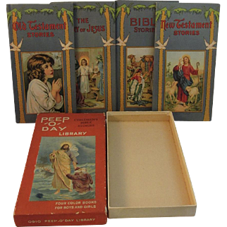 """Victorian Chromolithograph Illustrated Peep 'O"""" Day Library 4 Bible Stories in Original Box"""