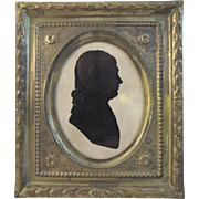 Early Paper Silhouette in Brass Frame