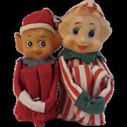 2 Red Knee Hugger Christmas Elves Elf