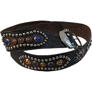Vintage Tooled Leather Cowboy Western Belt with Faux Jewels & Studs