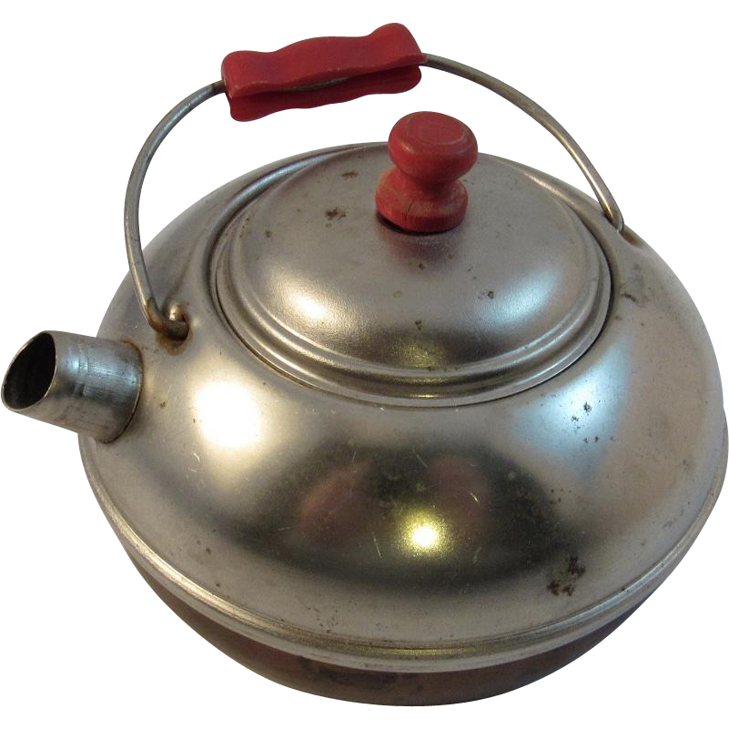 Toy Teapot Copper Bottom and Red Handles Child Size Vintage Kitchen Kitchenware
