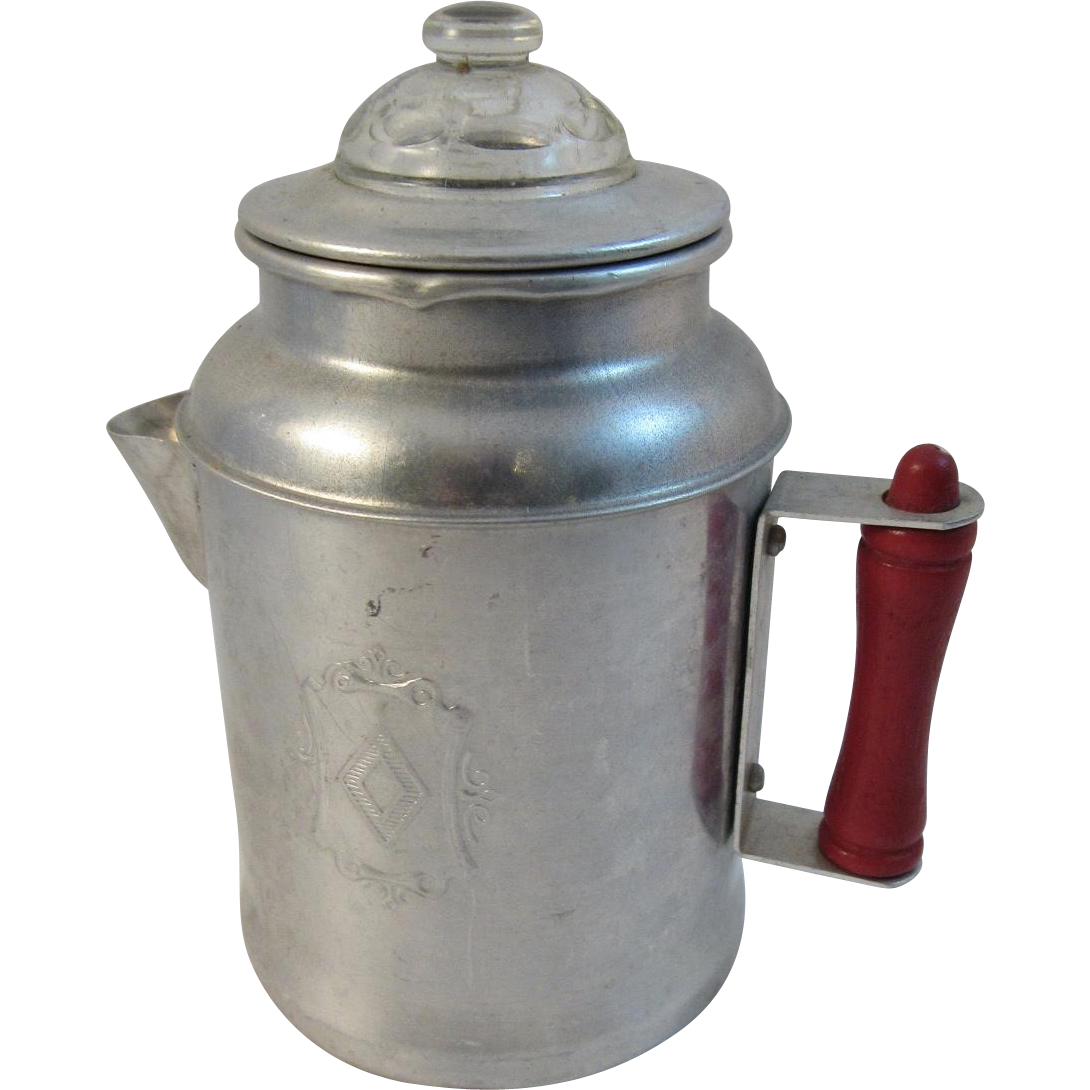 Toy Percolator Coffee Pot Aluminum with Red Handle Vintage Child Size