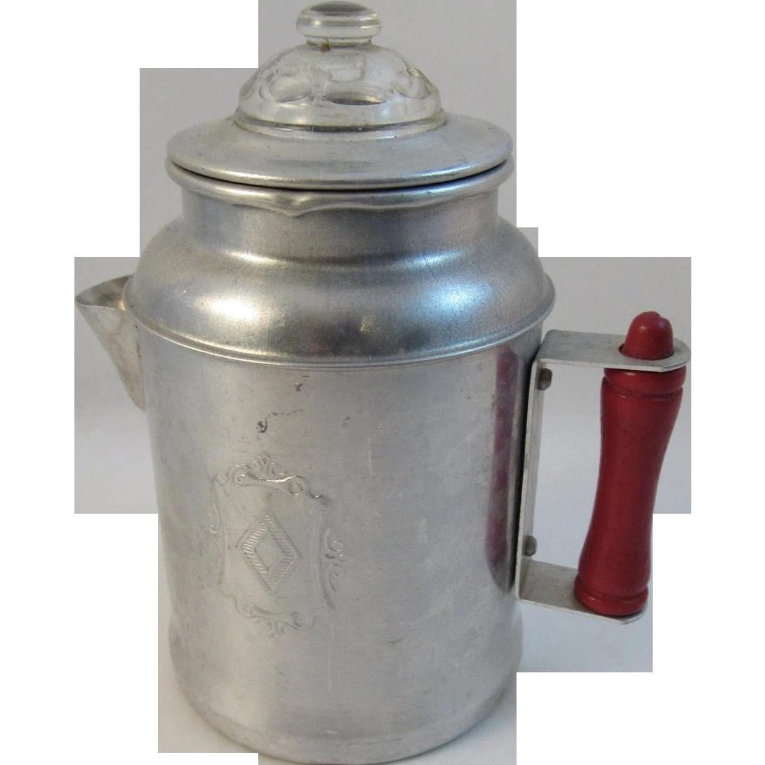 Toy Percolator Coffee Pot Aluminum Red Handle Vintage