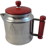 Toy Coffee Pot Red Handle Lid Vintage Child Size