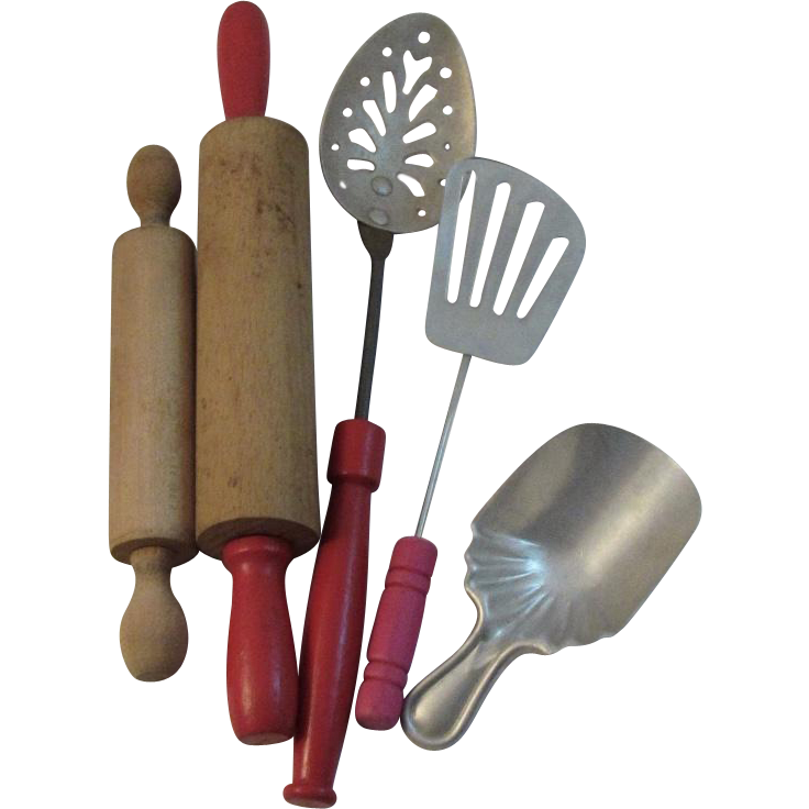 Toy Red Handle Kitchen Utensils Vintage Child Size Kitchenware