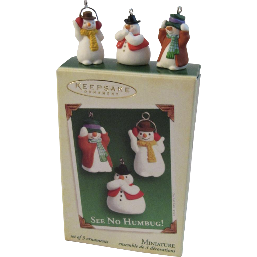 2005 Hallmark Miniature See No Humbug! 3 Snowmen Ornament Set
