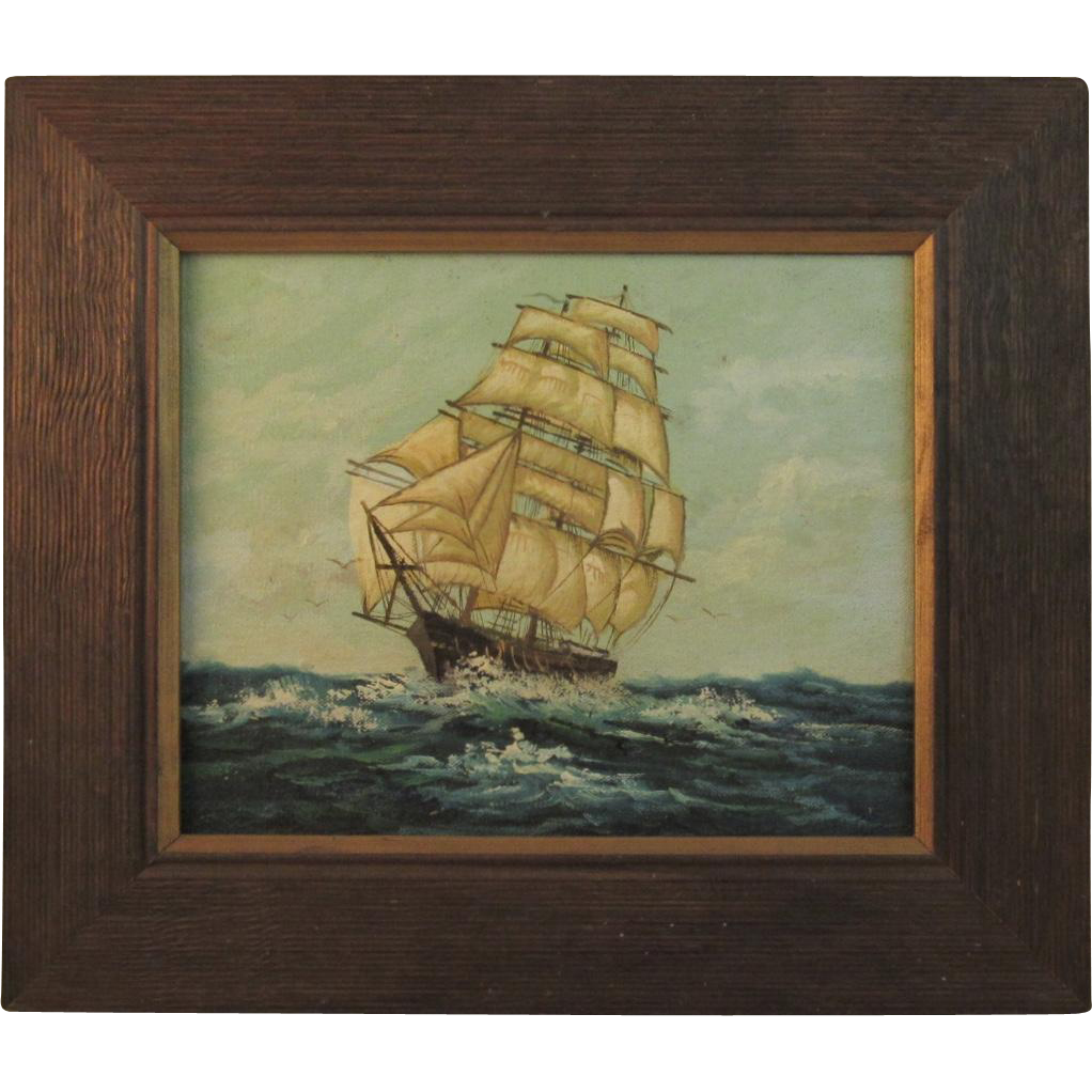 Original Oil Painting of a Ship at Sea