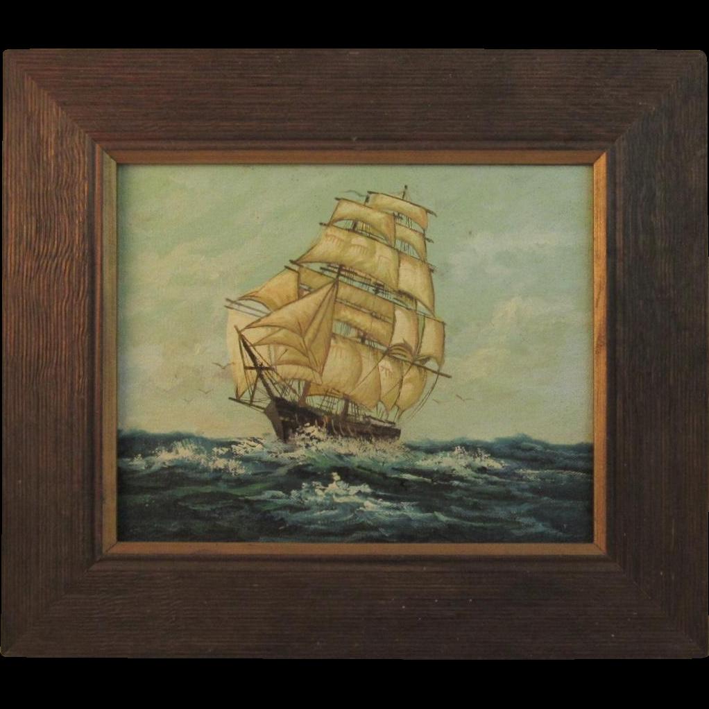 Original Oil Painting of a Ship at Sea
