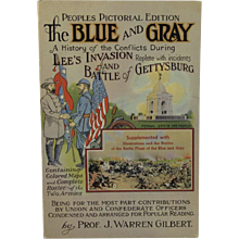 Battle of Gettysburg The Blue and The Gray 1952 Civil War Book Patriotic American Flag on Cover