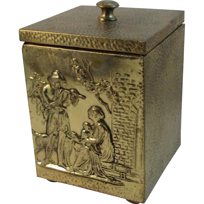 English Brass Tea Caddy with Embossed Hunting Scene