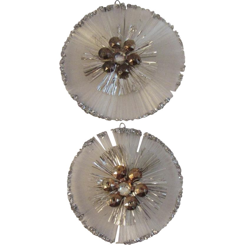 2 Spun Glass Christmas Ornaments Sequins and Tinsel