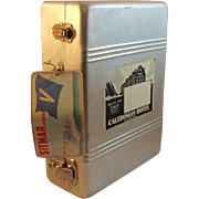 Vintage Metal Suitcase with Travel Stickers