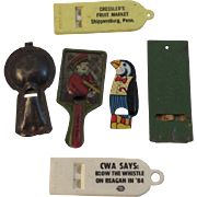 Tin Litho and Advertising Whistle Collection