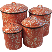 Orange Graniteware Canister Set Granite Ware