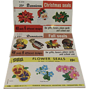 Dennison and Eureka Seals Christmas Thanksgiving Easter Autumn Winter Spring Pumpkin Turkey Santa Holly Flowers