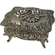Roses Jewelry Casket Cast Metal