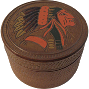 Indian Chief Carved Turned Wood Box