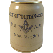 1907 Masonic Lodge Stein - Metropolitan 273 New York