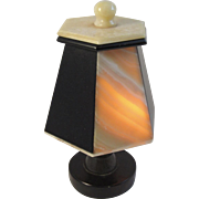 Vintage Onyx Lamp Black and Cream Panels