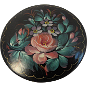 Cabbage Rose Signed Russian Lacquer Pin