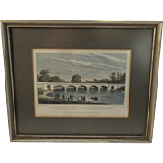 1827 Engraving The New Bridge Over the Serpentine Hyde Park Shepherd and Barenger