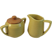 McCoy Creamer & Sugar Ribbed Yellow