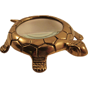 Vintage Brass Turtle Magnifying Glass Paperweight