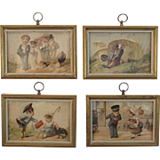 Set of 4 Framed Trade Cards