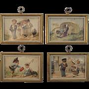 Set of 4 Framed Trade Cards