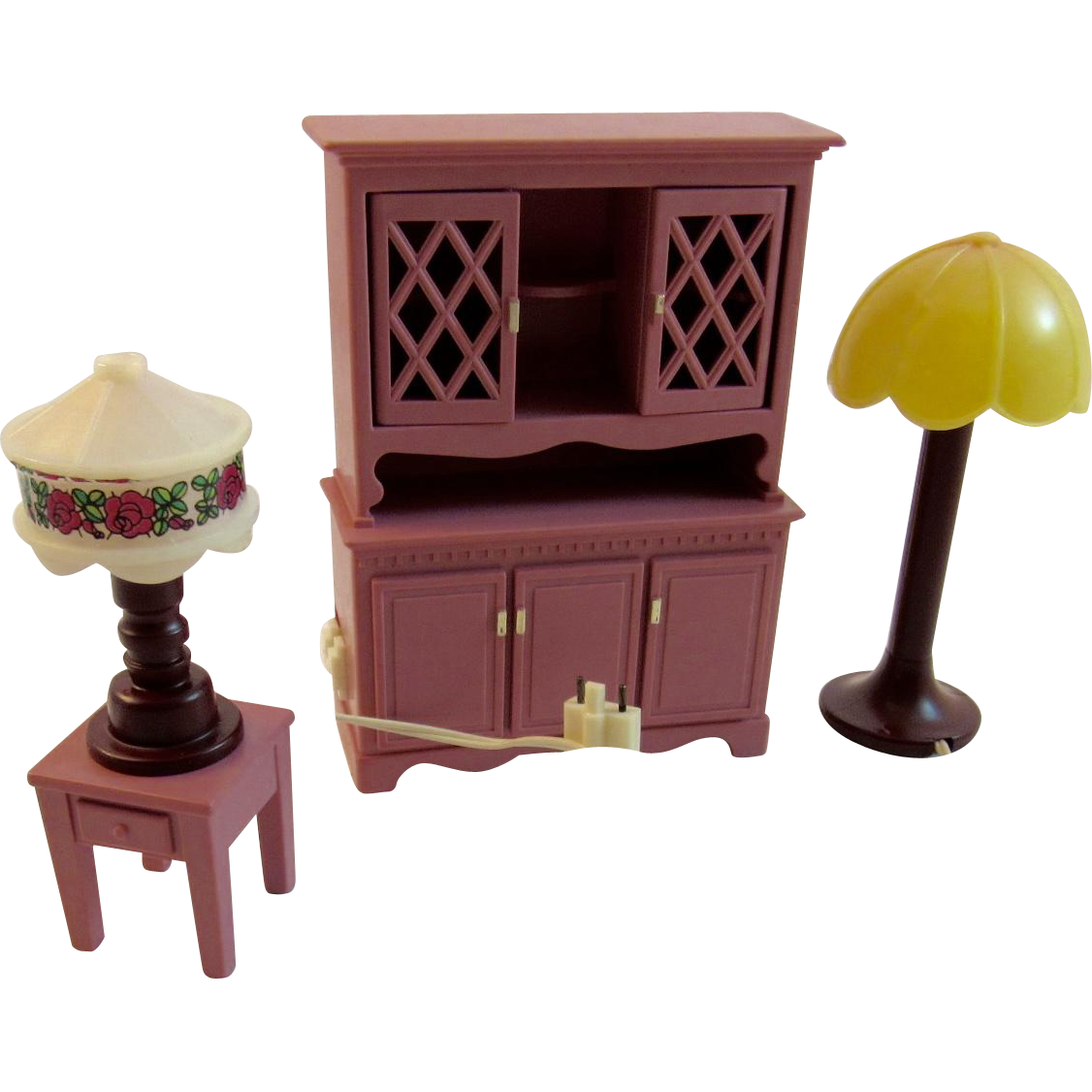 Fisher price doll house furniture - Fisher Price Hutch And 2 Lamps Working Condition Light Up Dollhouse Furniture