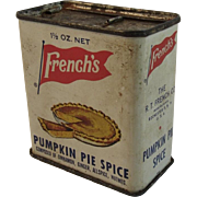 French's Pumpkin Pie Spice Tin Vintage Kitchen Kitchenware