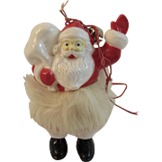 Hard Plastic Santa with Fur Trimmed Coat Ornament