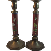 Heavy Brass Cloisonné Column Candlesticks