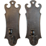 Italian Pewter Wall Sconces Candle Holders