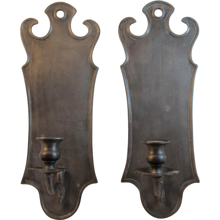 Italian Pewter Wall Sconces Candle Holders from ssmooreantiques on Ruby Lane