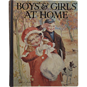 c1914 Boys' and Girls' At Home Children's Book with Color Plates
