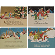 4 Unused Art Deco Christmas Cards