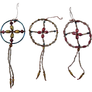 3 Czech Glass Bead Christmas Tree Ornaments