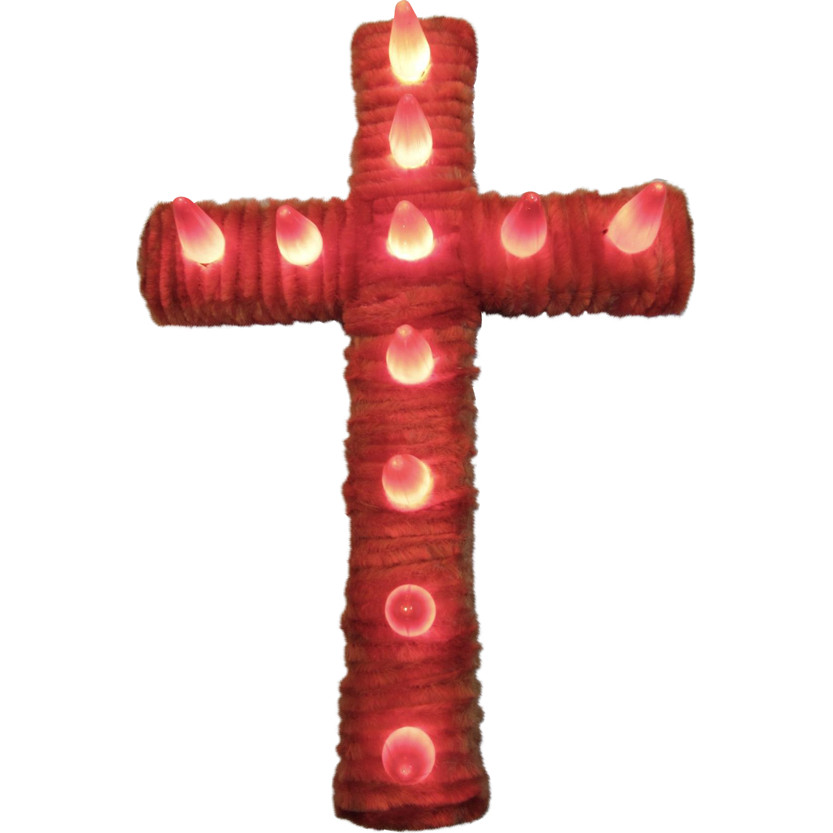 Noma Christmas Decorations: Noma Chenille Cross In Red 1930s Christmas Decor From