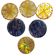 6 Hand Painted MOP Buttons Mother of Pearl Vintage Sewing