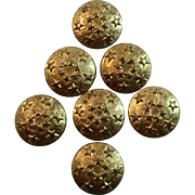 6 Gold Tone Star Buttons Patriotic